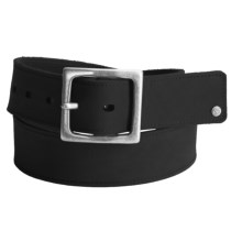 Timberland Nubuck-Cotton Belt - Square Buckle (For Men) in Black - Closeouts
