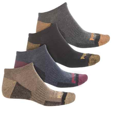Timberland Outdoor Comfort No-Show Socks - 4-Pack, Below the Ankle (For Men) in Dune/Black/Charcoal/Denim - Closeouts