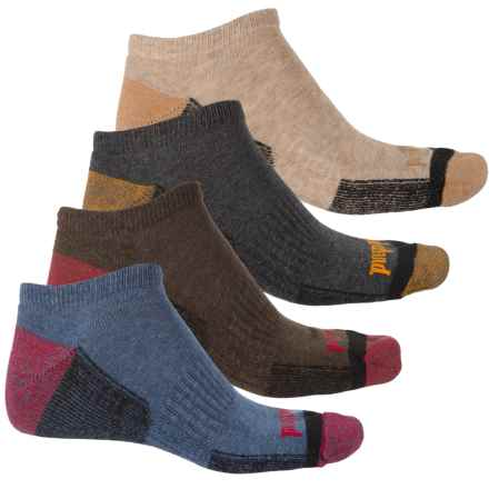 Timberland Outdoor Comfort No-Show Socks - 4-Pack, Below the Ankle (For Men) in Dune/Brown/Charcoal/Denim - Closeouts