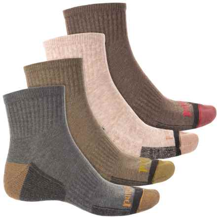 Timberland Outdoor Leisure Socks - 4-Pack, Quarter Crew (For Men) in Grey/Drab/Tan/Bark - Closeouts