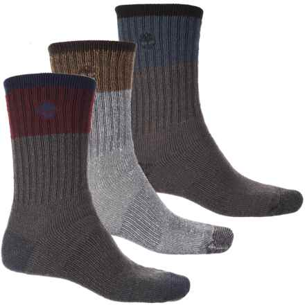 Timberland Outdoor Multi-Purpose Socks - 3-Pack, Crew (For Men) in Graphite Combo - Closeouts