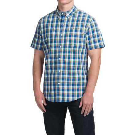 Timberland Perry Stream Madras Shirt - Short Sleeve (For Men) in True Blue - Closeouts
