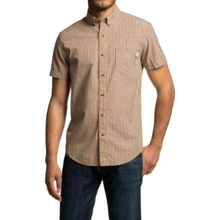Timberland Perry Stream Mini-Check Shirt - Slim Fit, Short Sleeve (For Men) in Sudan Brown - Closeouts