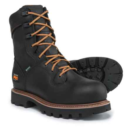 "Timberland PRO 8"" Crosscut Work Boots - Steel Safety Toe, Waterproof (For Men) in Black - Closeouts"