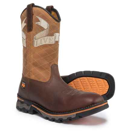 Timberland PRO AG Boss Embroidered Soft Toe Work Boots - Waterproof, Square Toe (For Men) in Tan - Closeouts