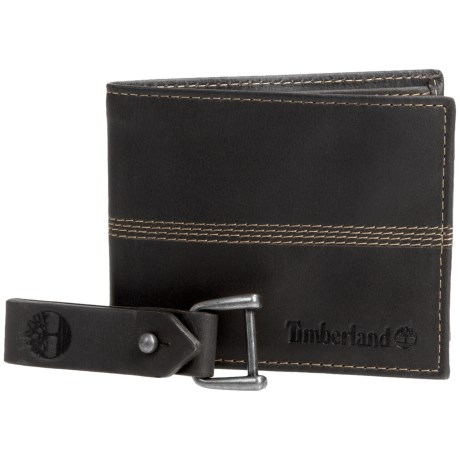 Timberland Quad Bifold Leather Wallet (For Men) in Black