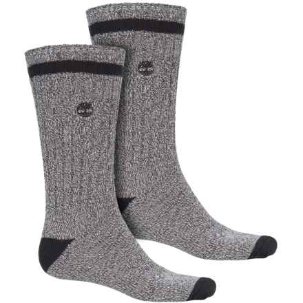 Timberland Rugged Cotton Blend Socks - 2-Pack, Crew (For Men) in Grey - Closeouts