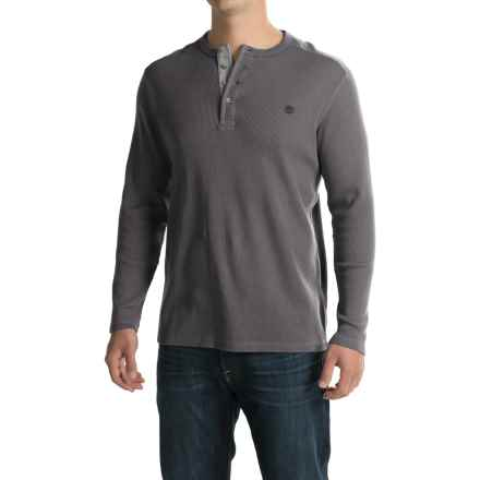 Timberland Wharf River Waffle Henley Shirt - Long Sleeve (For Men) in Tornado - Closeouts