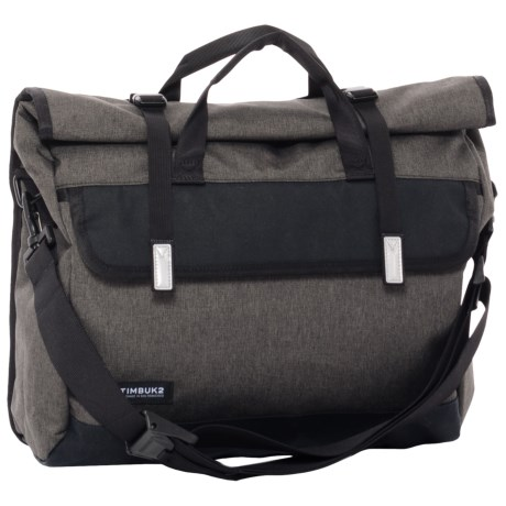 Timbuk2 Custom Prospect Laptop Messenger Bag in Black Chambray/Waxed Canvas