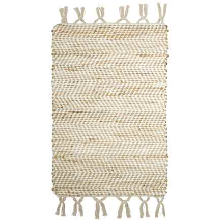 "Timbuktu Lawson Cotton-Jute Scatter Rug - 24x36"" in White - Closeouts"