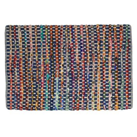 "Timbuktu Rana Chindi Rug - 24x36"", Cotton-Wool Blend in Denim/Multi"