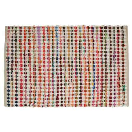 "Timbuktu Rana Chindi Rug - 24x36"", Cotton-Wool Blend in White/Multi - Closeouts"