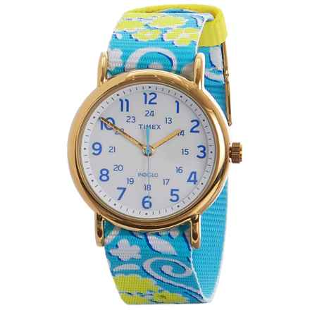 Timex Analog Weekender Slip-Thru Watch - Nylon Strap (For Women) in Blue - Closeouts