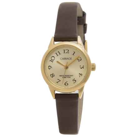 Timex Carriage Gold-Tone Watch - Leather Strap (For Women) in Gold/Brown - Closeouts