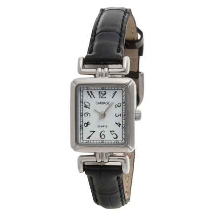 Timex Carriage Silver-Tone Watch - Leather Strap (For Women) in White/Black - Closeouts