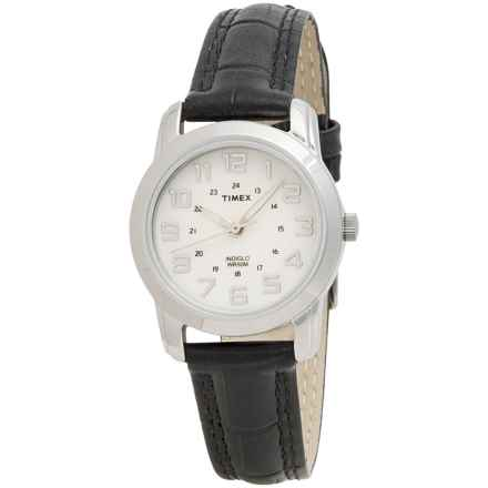 Timex Elevated Classics Sports Chic Watch - Leather Strap (For Women) in Silver/Black - Closeouts