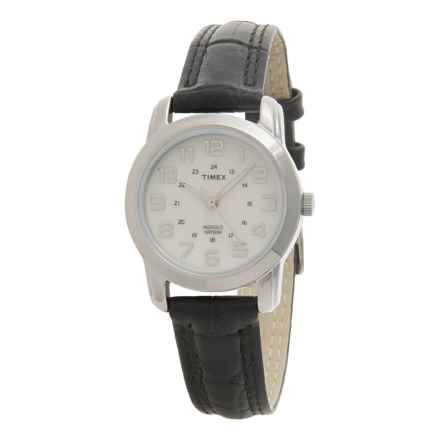 Timex Elevated Classics Sports Chic Watch - Leather Strap (For Women) in White / Black - Closeouts