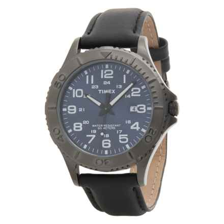 Timex Elevated Classics Watch - Leather Strap (For Men) in Gunmetal/ Black - Closeouts