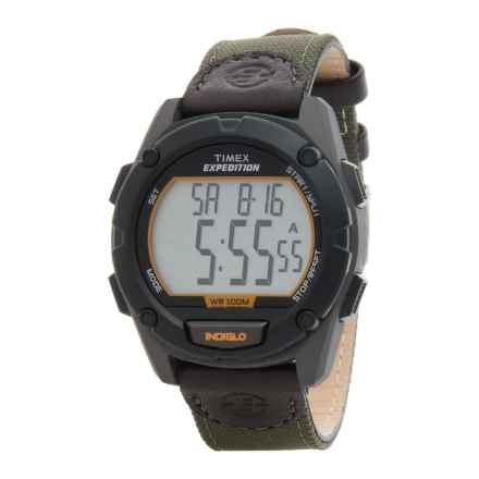 Timex Expedition Black Digital Watch - Nylon-Leather Strap (For Men) in Olive/Black - Closeouts