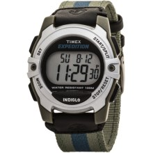 Timex Expedition Chrono Watch - Alarm Timer, Nylon Strap in Silver/Blue - Closeouts