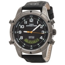Timex Expedition Combo Analog/Digital Watch - Leather Band (For Men) in Black/Silver - Closeouts