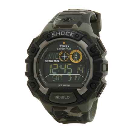 Timex Expedition Global Shock Watch - Rubber Strap (For Men) in Black/Camo - Closeouts