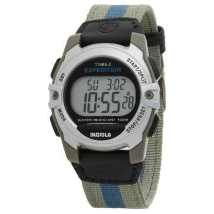 Timex Expedition Mid-Size Digital Watch in Grey W/Blue Stripes/Grey - Closeouts