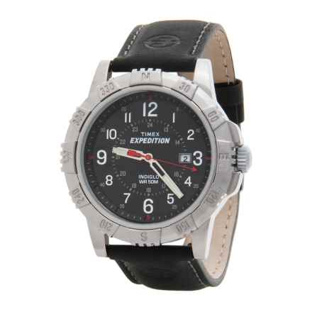 Timex Expedition Rugged Metal Field Watch - Leather Strap (For Men) in Black/ Black - Closeouts