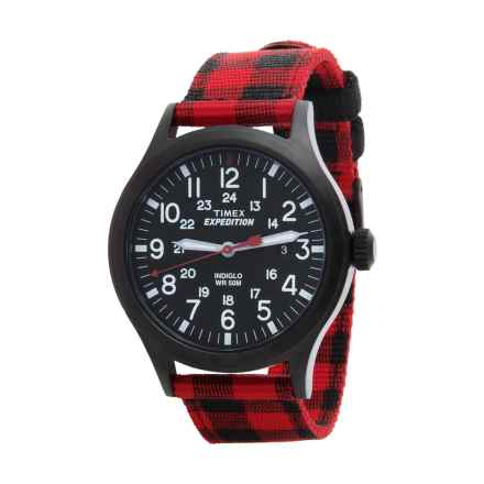 Timex Expedition Scout Buffalo Check Watch - Nylon Strap in Black / Red/Black - Closeouts