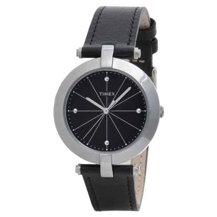 Timex Greenwich Classic Metal Watch - Leather Strap (For Women) in Black/Black - Closeouts