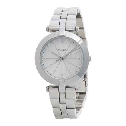 Timex Greenwich Silver-Tone Watch - Stainless Steel Bracelet (For Women) in White/Stainless Steel - Closeouts
