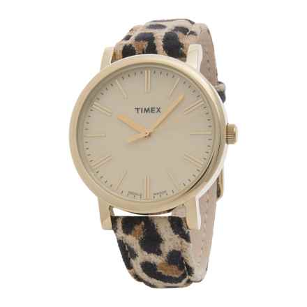 Timex Heritage Cheetah Suede Watch - Suede Strap (For Women) in Cream/Cheetah Print - Closeouts