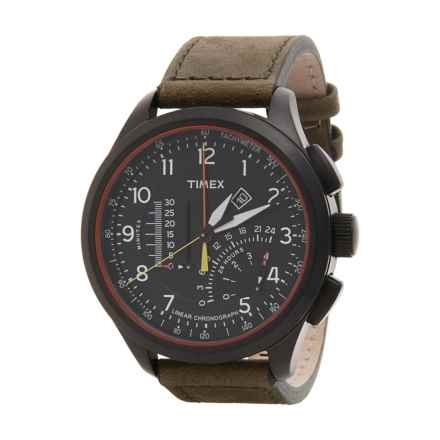 Timex Intelligent Quartz Linear Chronograph Tachymeter Watch - Leather Strap (For Men) in Black/Brown - Closeouts