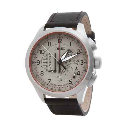 Timex Intelligent Quartz Linear Chronograph Tachymeter Watch - Leather Strap (For Men) in Cream /Brown - Closeouts