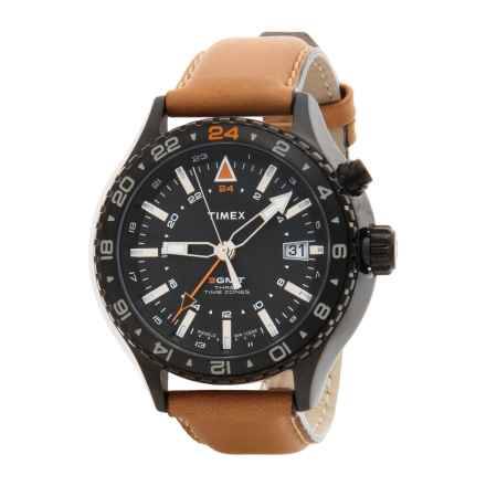 Timex Intelligent Quartz Watch - Leather Strap (For Men) in Black/Tan - Closeouts