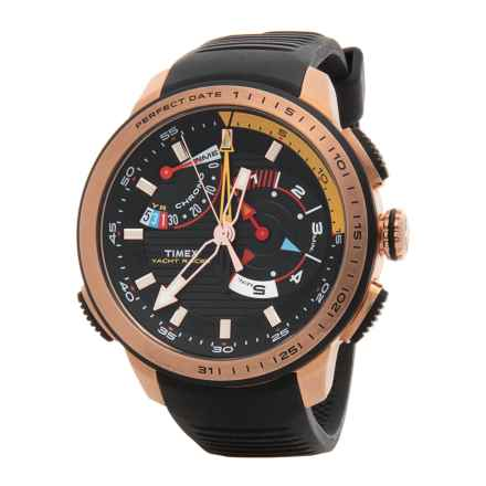 Timex Intelligent Quartz Yacht Racer Watch - Rubber Strap (For Men) in Black/Black - Closeouts