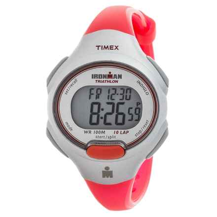 Timex IRONMAN® Essential 10 Mid-Size Sports Watch (For Women) in White/Silver/Red - Closeouts