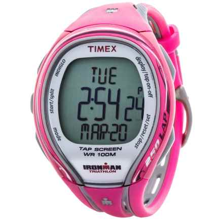 Timex IRONMAN® Sleek 250 Mid-Size Sports Watch (For Women) in Silver/Pink - Closeouts