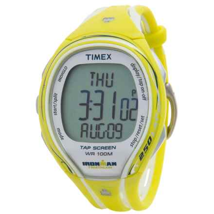Timex IRONMAN® Sleek 250 Mid-Size Sports Watch (For Women) in Silver/Yellow - Closeouts