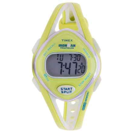 Timex IRONMAN® Sleek 50 Mid-Size Sports Watch (For Women) in Silver/Lime Green - Closeouts