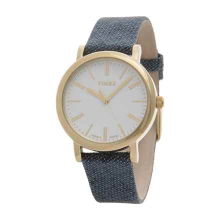 Timex Originals Analog Watch - Leather-Linen Strap (For Women) in White/Blue - Closeouts