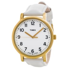 Timex Originals Classic Round Watch - Leather Band (For Men and Women) in White/Gold - Closeouts