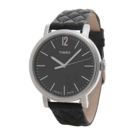 Timex Originals Matelasse Watch - Leather Strap (For Women) in Black/Black - Closeouts