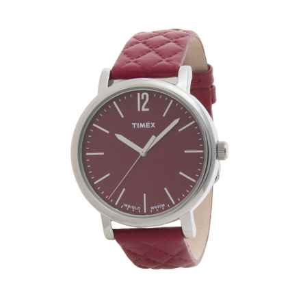 Timex Originals Matelasse Watch - Leather Strap (For Women) in Red/Red - Closeouts