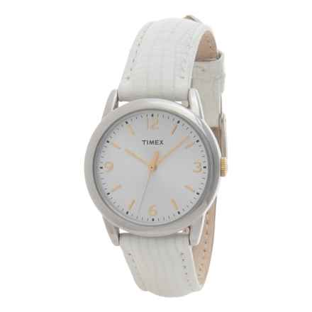 Timex South Street Watch - Leather Strap (For Women) in Silver/White - Closeouts