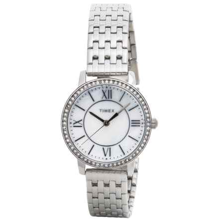 Timex Style Elevated Classic Crystals Watch - 30mm, Stainless Steel Bracelet (For Women) in Silver/Stainless Steel - Closeouts