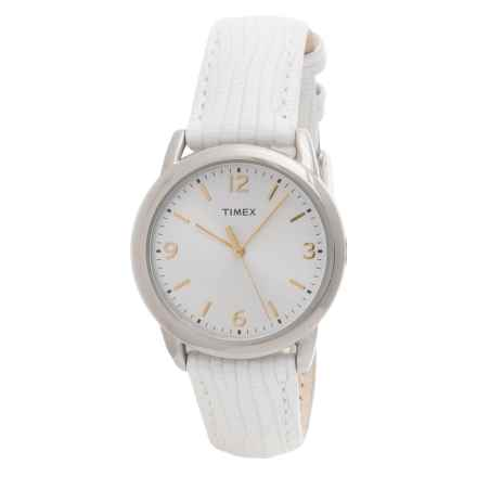 Timex Style Elevated Watch - Leather Strap (For Women) in Silver/White - Closeouts