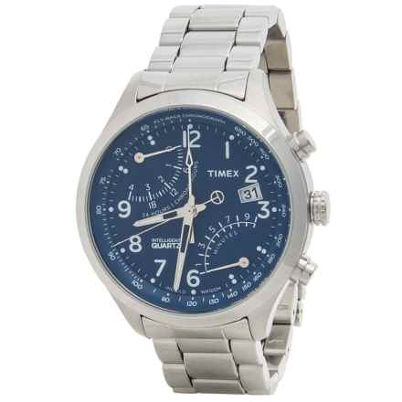 Timex Style Intelligent Quartz® Fly-Back Watch (For Men) in Blue/Stainless Steel - Closeouts