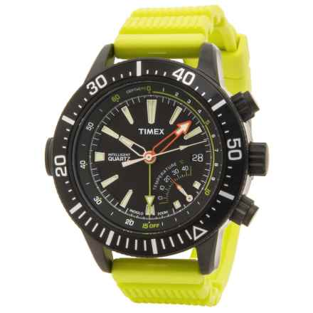 Timex Style IQ Adventure Watch - 47mm, Silicone Strap (For Men) in Black/Yellow - Closeouts