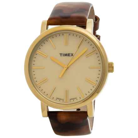 Timex Style Originals Modern Watch - 38mm, Leather Strap (For Women) in Gold/Brown - Closeouts